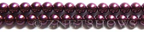 Glass Pearls <b>8mm</b> Round Wine Color K0294 (15.5-in-str)   per <b>5-str-hank</b>