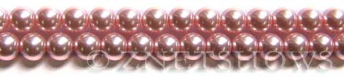 Glass Pearls <b>8mm</b> Round Pink Color K0502 (15.5-in-str)   per <b>5-str-hank</b>