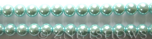 Glass Pearls <b>8mm</b> Round Light Tender Blue Color K0531 (15.5-in-str)   per <b>5-str-hank</b>
