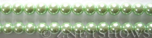 Glass Pearls <b>8mm</b> Round Light Vivid Green Color K0542 (15.5-in-str)   per <b>5-str-hank</b>
