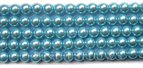 Glass Pearls <b>8mm</b> Round Tender Blue Color K1069(15.5-in-str)   per <b>5-str-hank</b>