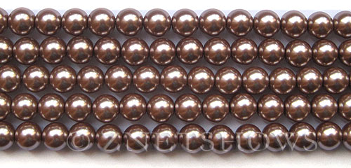 Glass Pearls <b>8mm</b> Round Cocoa Color K1078(15.5-in-str)   per <b>5-str-hank</b>