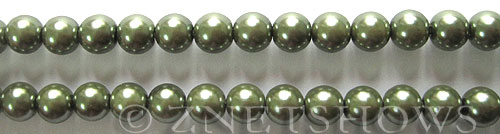Glass Pearls <b>8mm</b> Round Autumn Green K0251 (15.5-in-str)   per <b>5-str-hank</b>