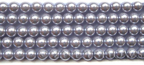 Glass Pearls <b>8mm</b> Round Pale Lilac K0041(15.5-in-str)   per <b>5-str-hank</b>