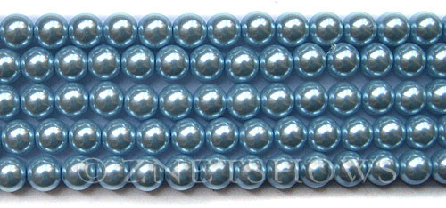 Glass Pearls <b>8mm</b> Round Blue Violet K0062(15.5-in-str)   per <b>5-str-hank</b>