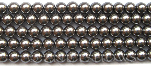 Glass Pearls <b>8mm</b> Round Hematite K0598(15.5-in-str)   per <b>5-str-hank</b>