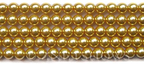 Glass Pearls <b>8mm</b> Round Champagne K1120(15.5-in-str)   per <b>5-str-hank</b>