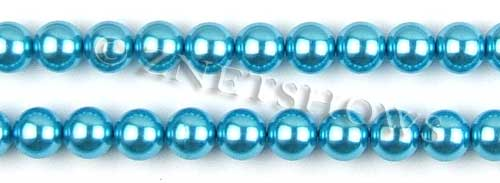 Glass Pearls <b>10mm</b> Round blue K246   per <b>15.5-in-str</b>