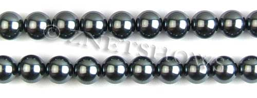 Glass Pearls <b>10mm</b> Round dark gray K301   per <b>15.5-in-str</b>