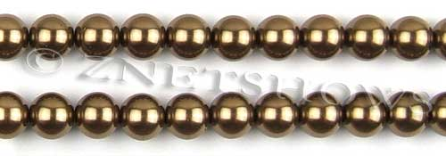 Glass Pearls <b>10mm</b> Round copper K373   per <b>15.5-in-str</b>