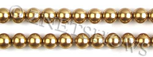 Glass Pearls <b>10mm</b> Round golden K520   per <b>15.5-in-str</b>