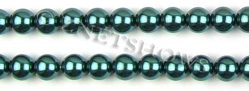 Glass Pearls <b>10mm</b> Round teal green    K1182   per <b>15.5-in-str</b>