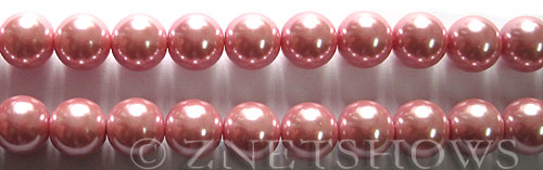 Glass Pearls <b>10mm</b> Round Rosy Pink Color K1092   per <b>15.5-in-str</b>