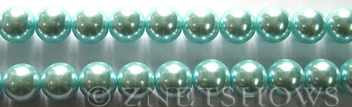 Glass Pearls <b>10mm</b> Round Light Tender Blue Color K0531   per <b>15.5-in-str</b>