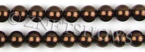 Glass Pearls <b>12mm</b> Round brown K396   per <b>15.5-in-str</b>