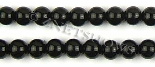 Glass Pearls <b>12mm</b> Round black K808   per <b>15.5-in-str</b>