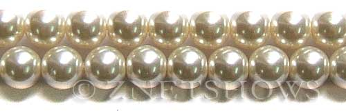 Glass Pearls <b>12mm</b> Round off white   K822   per <b>15.5-in-str</b>