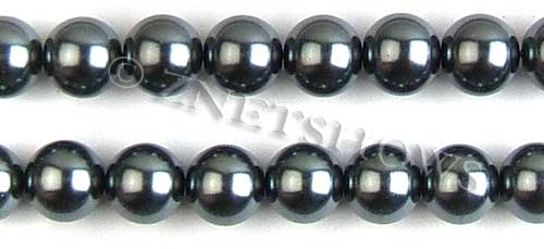 Glass Pearls <b>14mm</b> Round dark gray K301   per <b>15.5-in-str</b>