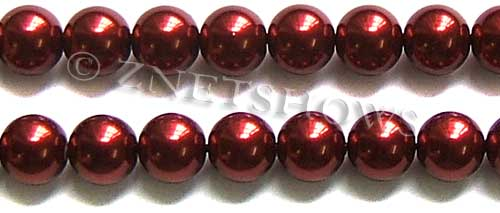 Glass Pearls <b>14mm</b> Round red Color K388   per <b>15.5-in-str</b>