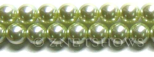 Glass Pearls <b>14mm</b> Round baby lime K441   per <b>15.5-in-str</b>