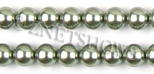Glass Pearls <b>14mm</b> Round sage K551   per <b>15.5-in-str</b>