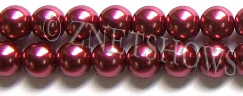 Glass Pearls <b>14mm</b> Round raspberry K588   per <b>15.5-in-str</b>