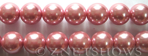 Glass Pearls <b>14mm</b> Round rosy pink Color K109   per <b>15.5-in-str</b>