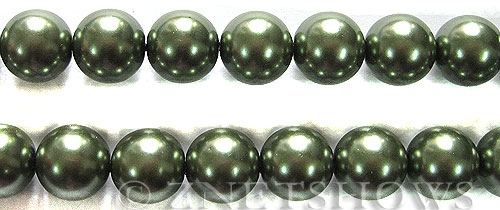 Glass Pearls <b>14mm</b> Round Autumn green K251   per <b>15.5-in-str</b>