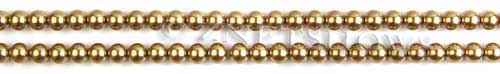 Glass Pearls <b>3mm</b> Round Golden Color K0520 (15.5-in-str)   per <b>5-str-hank</b>