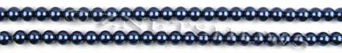 Glass Pearls <b>3mm</b> Round Navy Blue Color K0697 (15.5-in-str)   per <b>5-str-hank</b>