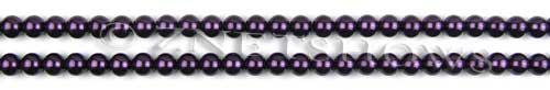 Glass Pearls <b>3mm</b> Round Dark Purple Color K0995 (15.5-in-str)   per <b>5-str-hank</b>