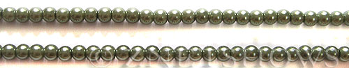 Glass Pearls <b>3mm</b> Round Autumn Green K0251 (15.5-in-str)   per <b>5-str-hank</b>