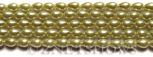 Glass Pearls <b>7x5mm</b> Teardrop Round Butter Color K0121   per <b>15.5-in-str</b>
