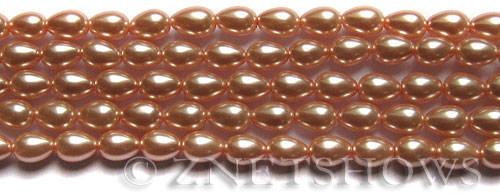 Glass Pearls <b>7x5mm</b> Teardrop Round Dusty Pink Color K0237   per <b>15.5-in-str</b>
