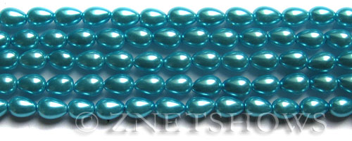 Glass Pearls <b>7x5mm</b> Teardrop Round Blue Color K0246   per <b>15.5-in-str</b>