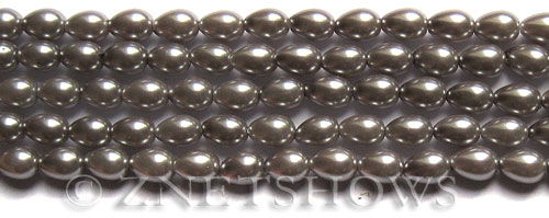 Glass Pearls <b>7x5mm</b> Teardrop Round Gray Color K0357   per <b>15.5-in-str</b>