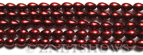 Glass Pearls <b>7x5mm</b> Teardrop Round Red Color K0388   per <b>15.5-in-str</b>