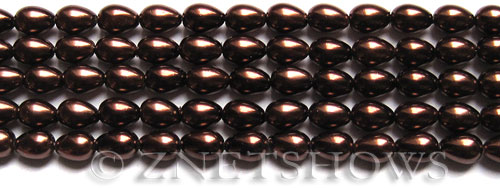 Glass Pearls <b>7x5mm</b> Teardrop Round Brown Color K0396   per <b>15.5-in-str</b>
