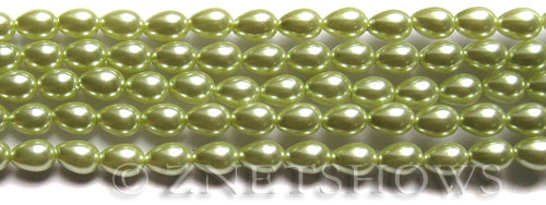Glass Pearls <b>7x5mm</b> Teardrop Round Baby Lime Color K0441   per <b>15.5-in-str</b>