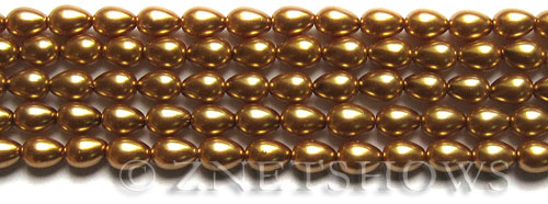 Glass Pearls <b>7x5mm</b> Teardrop Round Golden Color K0520   per <b>15.5-in-str</b>