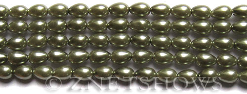 Glass Pearls <b>7x5mm</b> Teardrop Round Sage Color K0551   per <b>15.5-in-str</b>