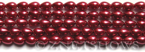 Glass Pearls <b>7x5mm</b> Teardrop Round Raspberry Color K0588   per <b>15.5-in-str</b>
