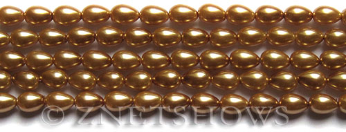 Glass Pearls <b>7x5mm</b> Teardrop Round Khaki Color K0689   per <b>15.5-in-str</b>