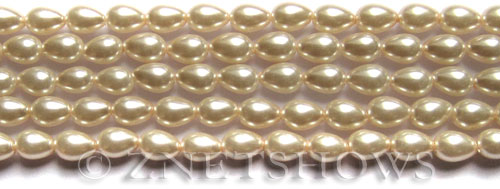 Glass Pearls <b>7x5mm</b> Teardrop Round Off White Color K0822   per <b>15.5-in-str</b>