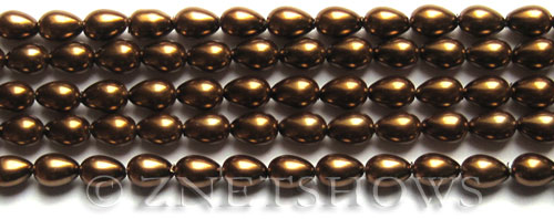 Glass Pearls <b>7x5mm</b> Teardrop Round Bronze Color K0904   per <b>15.5-in-str</b>