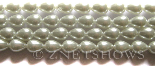 Glass Pearls <b>9x7mm</b> Teardrop Round White Color K0016   per <b>15.5-in-str</b>
