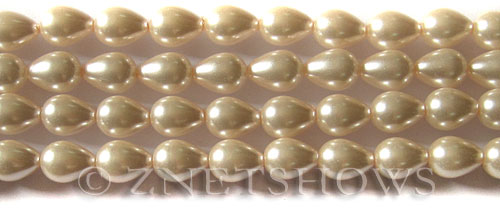 Glass Pearls <b>9x7mm</b> Teardrop Round Baby Pink Color K0165   per <b>15.5-in-str</b>
