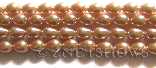 Glass Pearls <b>9x7mm</b> Teardrop Round Dusty Pink Color K0237   per <b>15.5-in-str</b>