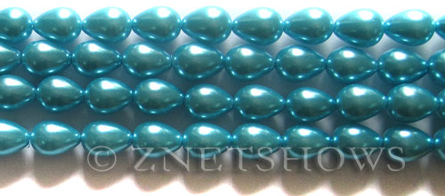 Glass Pearls <b>9x7mm</b> Teardrop Round Blue Color K0246   per <b>15.5-in-str</b>