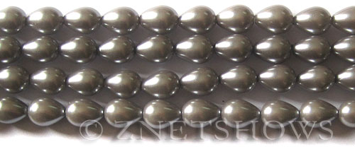 Glass Pearls <b>9x7mm</b> Teardrop Round Gray Color K0357   per <b>15.5-in-str</b>